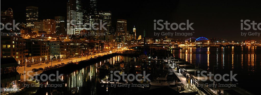 Seattle Night - Panoramic View royalty-free stock photo
