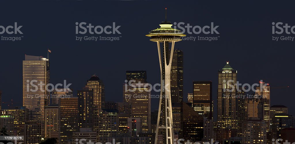 Seattle Night royalty-free stock photo