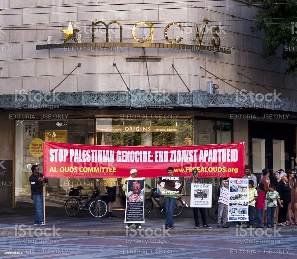 Seattle Palestinian Protest at Macy's stock photo
