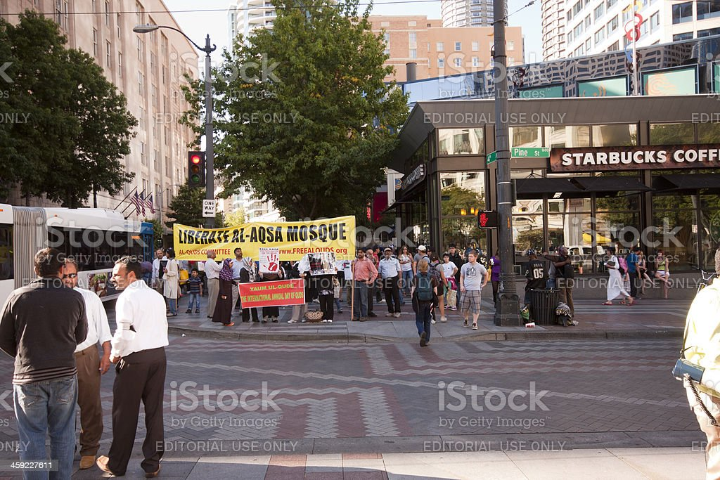 Seattle Palestinian Protest at Starbucks. royalty-free stock photo