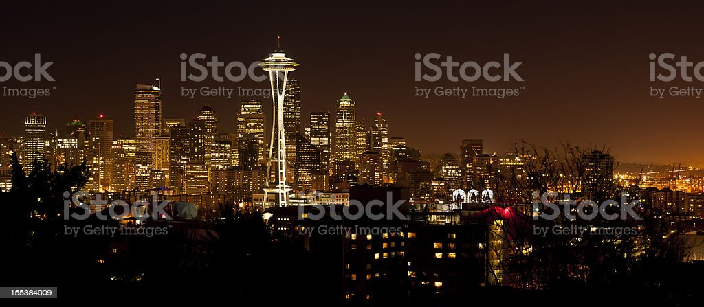 Seattle panoramic cityscape by night - II stock photo