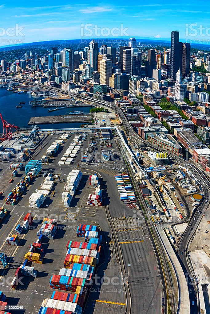 Seattle Port and Skyline From Above stock photo