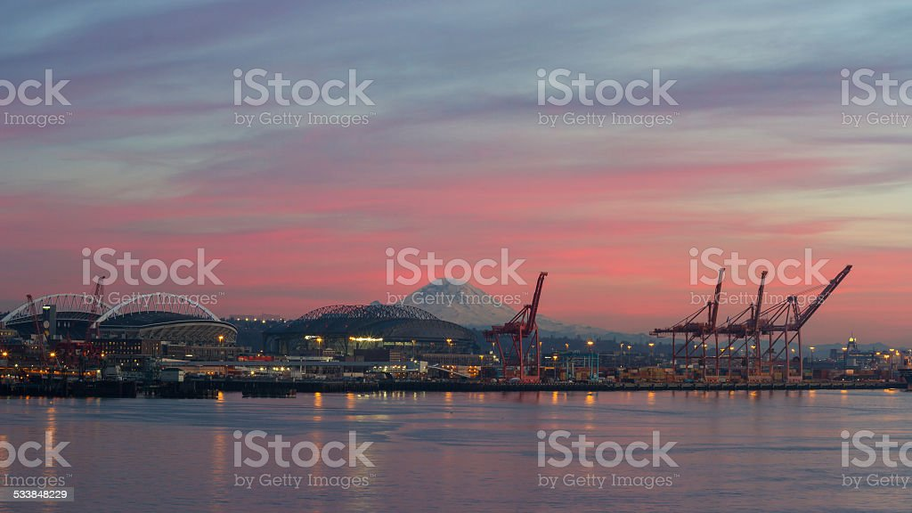 Seattle Port and Stadiums in the Evening royalty-free stock photo