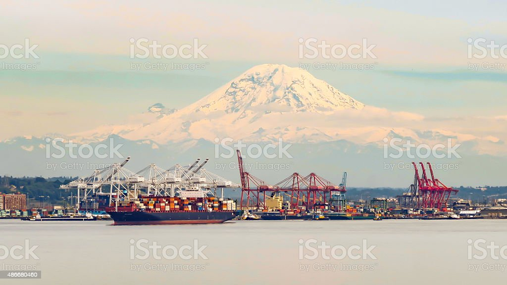 Seattle Port With Mt. Adams stock photo