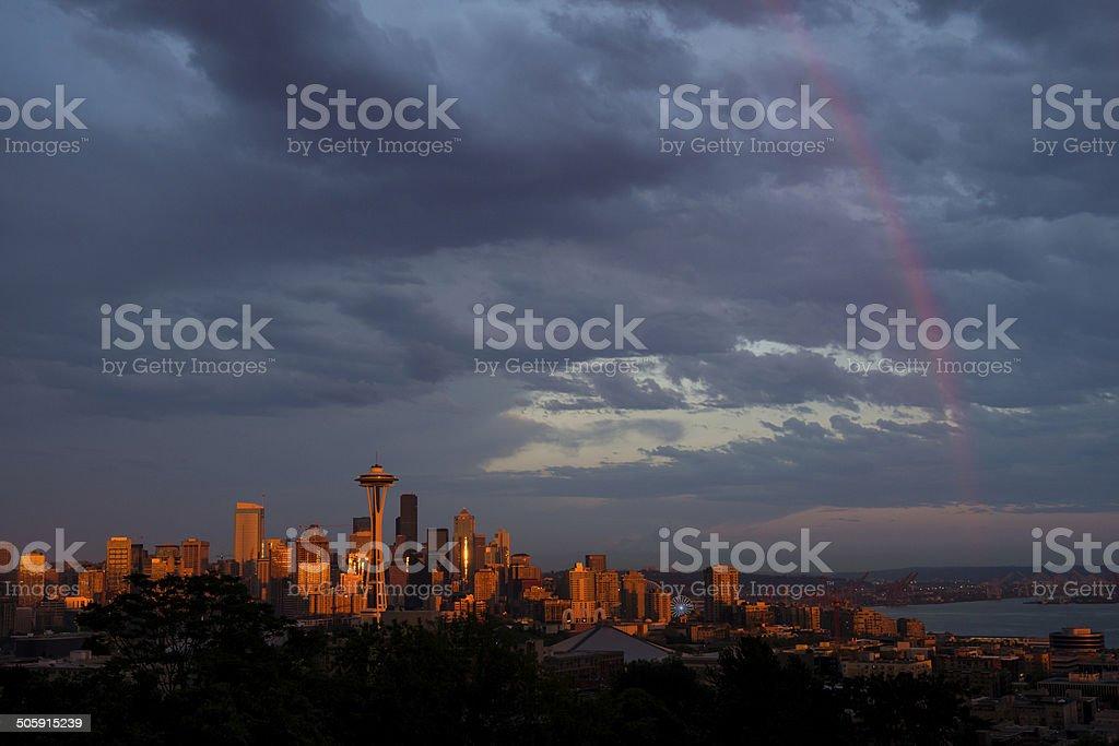 Seattle Rainbow stock photo