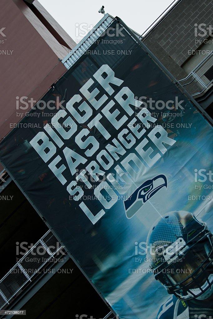 Seattle Seahawks Sign on Stadium stock photo
