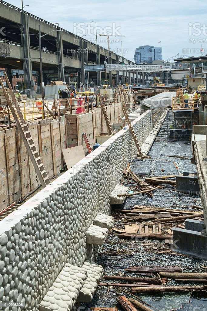 Seattle seawall construction stock photo