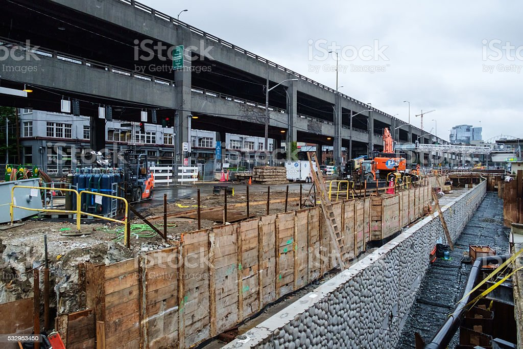 Seattle Seawall replacement stock photo