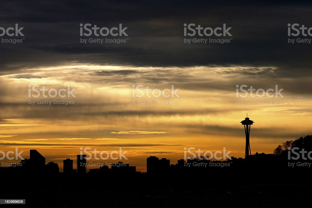 Seattle Sillhouette royalty-free stock photo