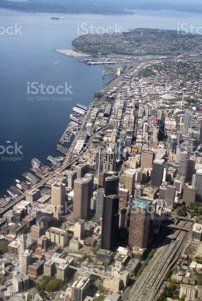 Seattle Skyline, Aerial stock photo