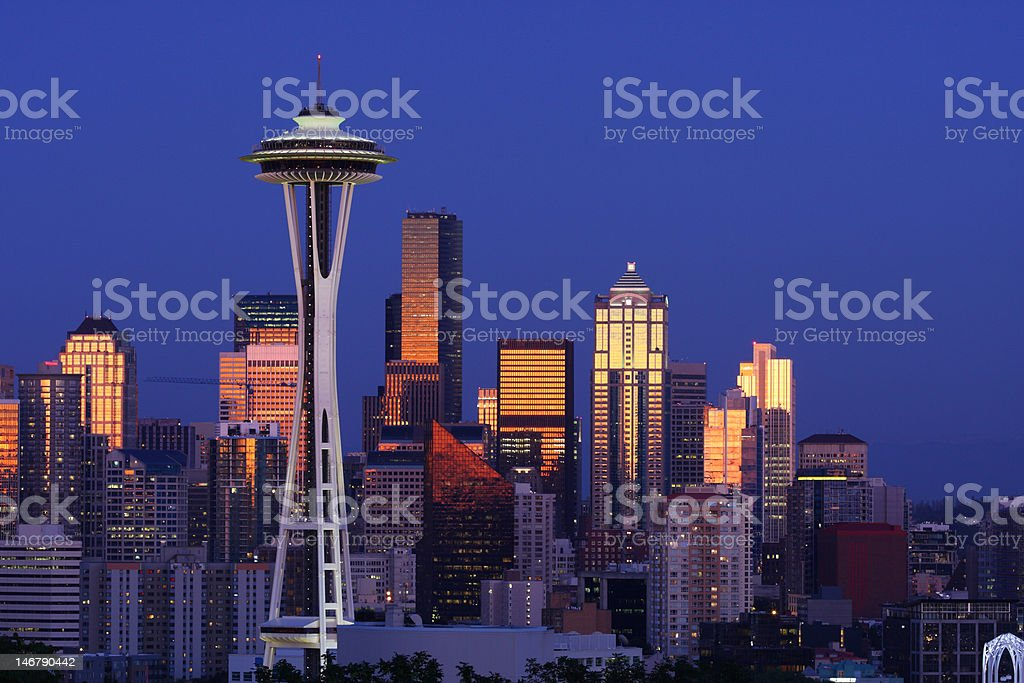 Seattle skyline after sunset from Kerry Park stock photo