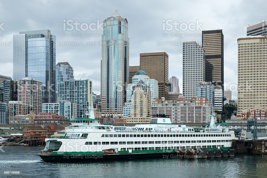 Seattle skyline and ferry boat stock photo