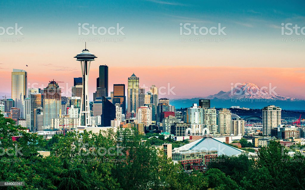 Seattle Skyline and Mount Rainier at Sunset stock photo