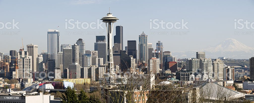 Seattle Skyline and Mount Rainier royalty-free stock photo