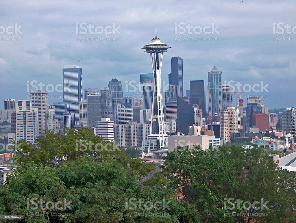 Seattle Skyline and Space Needle from Kerry Park royalty-free stock photo