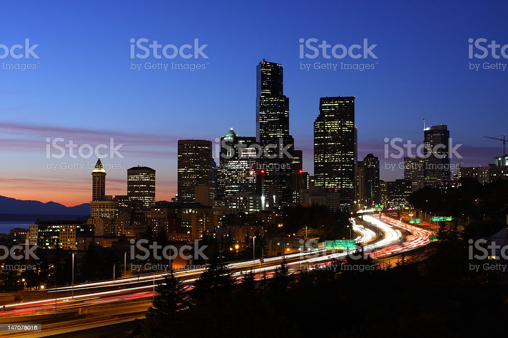 Seattle skyline and traffic royalty-free stock photo