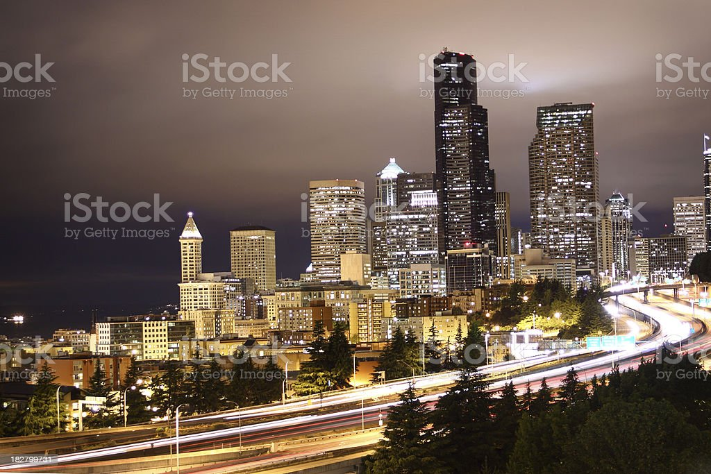 Seattle skyline and traffic stock photo