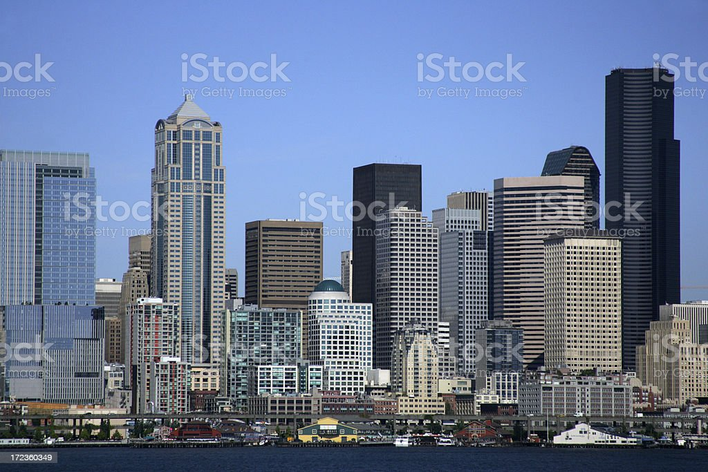 seattle skyline and waterfront stock photo