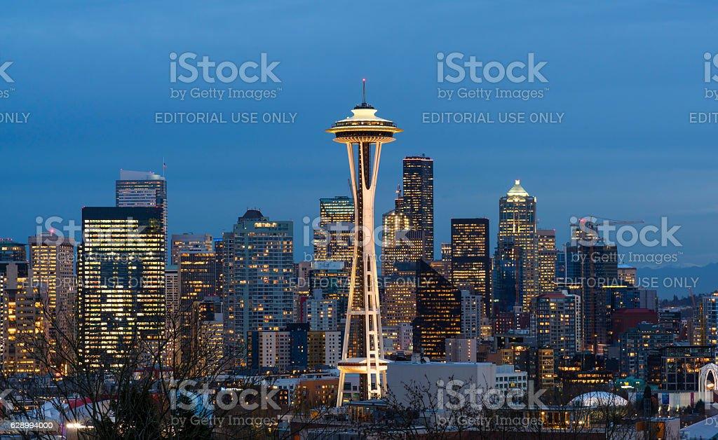Seattle Skyline at Dawn stock photo