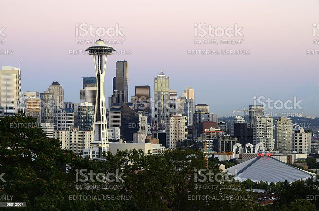 Seattle Skyline at Dusk royalty-free stock photo