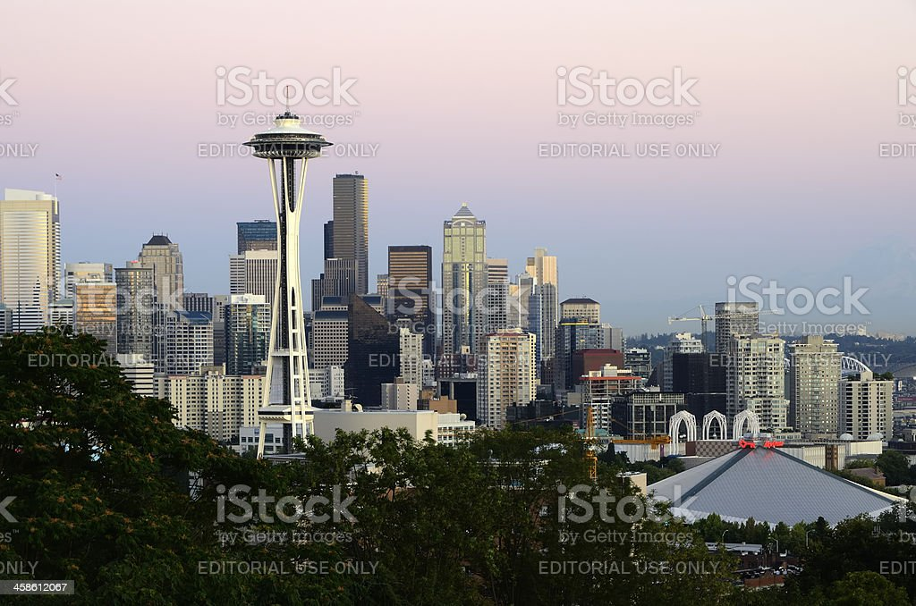 Seattle Skyline at Dusk stock photo