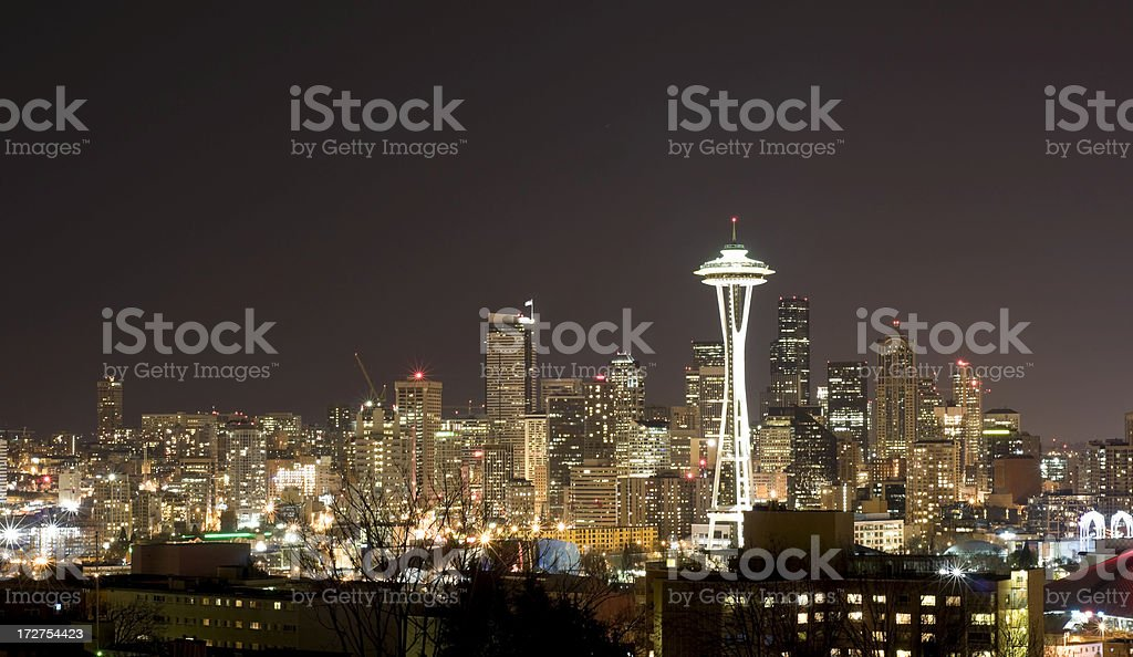 Seattle Skyline at Night royalty-free stock photo