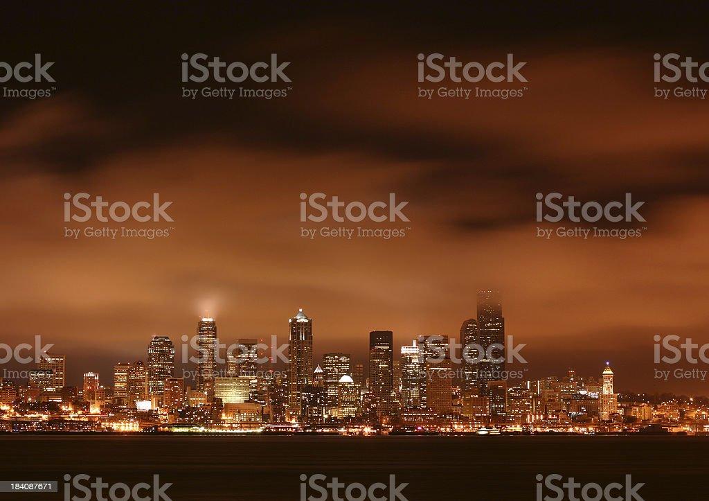 Seattle skyline at night royalty-free stock photo