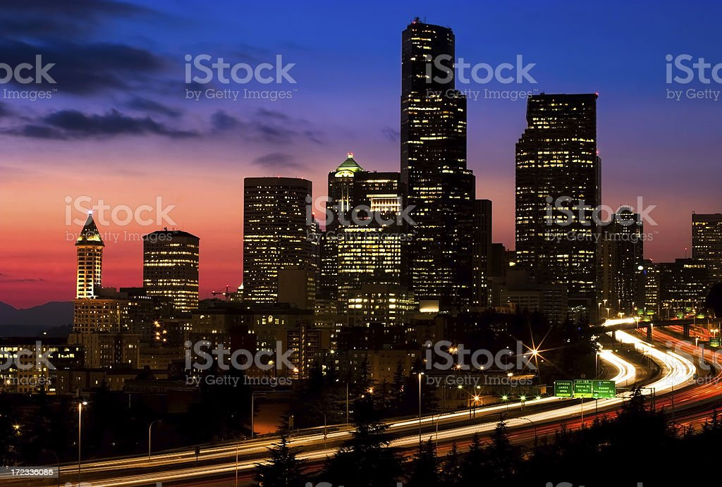 Seattle Skyline at Sunset royalty-free stock photo