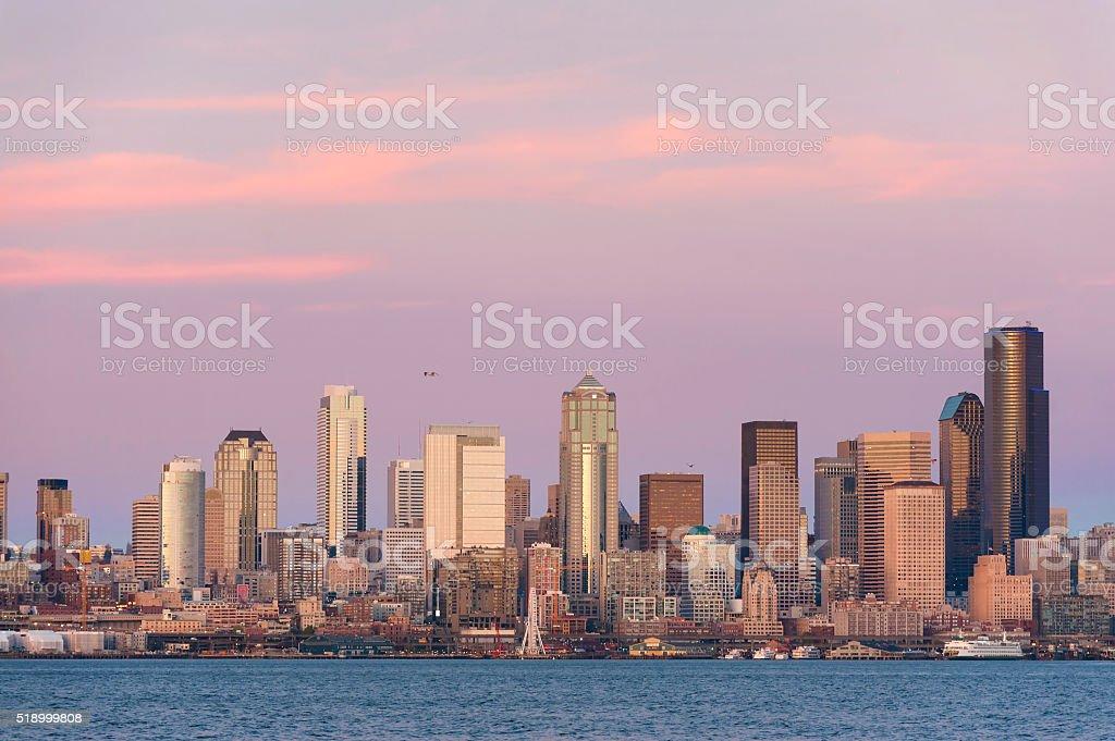 Seattle Skyline at Sunset stock photo
