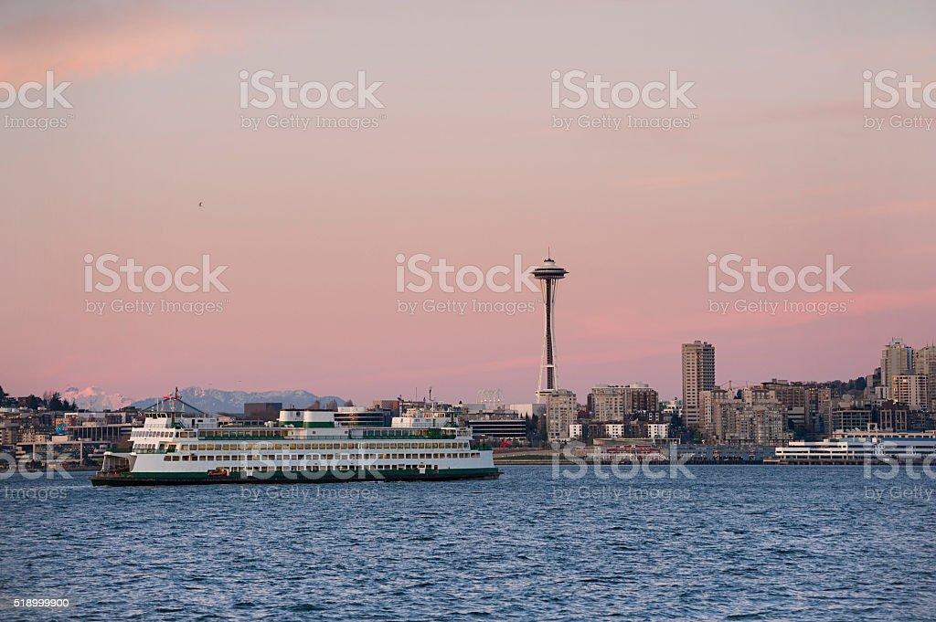Seattle Skyline at Sunset. stock photo