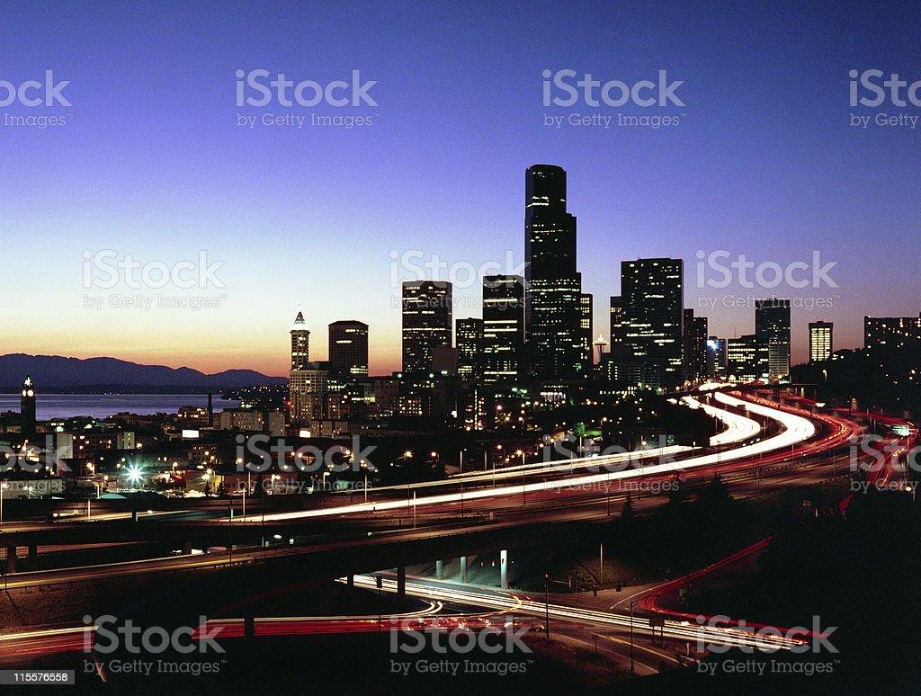 Seattle Skyline at Twilight royalty-free stock photo