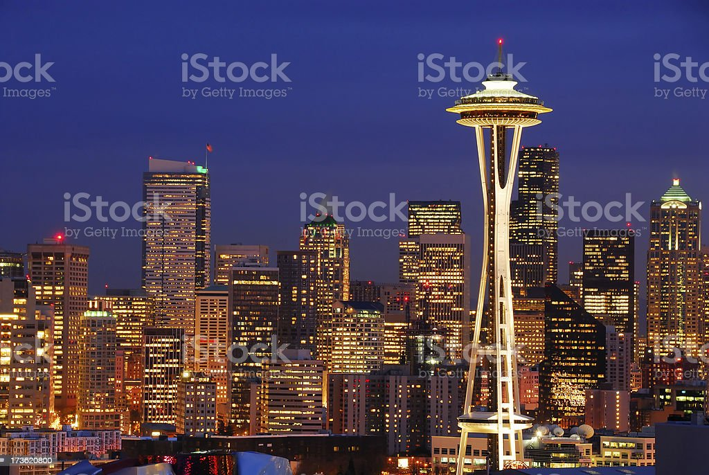 Seattle Skyline at Twilight royalty-free stock photo