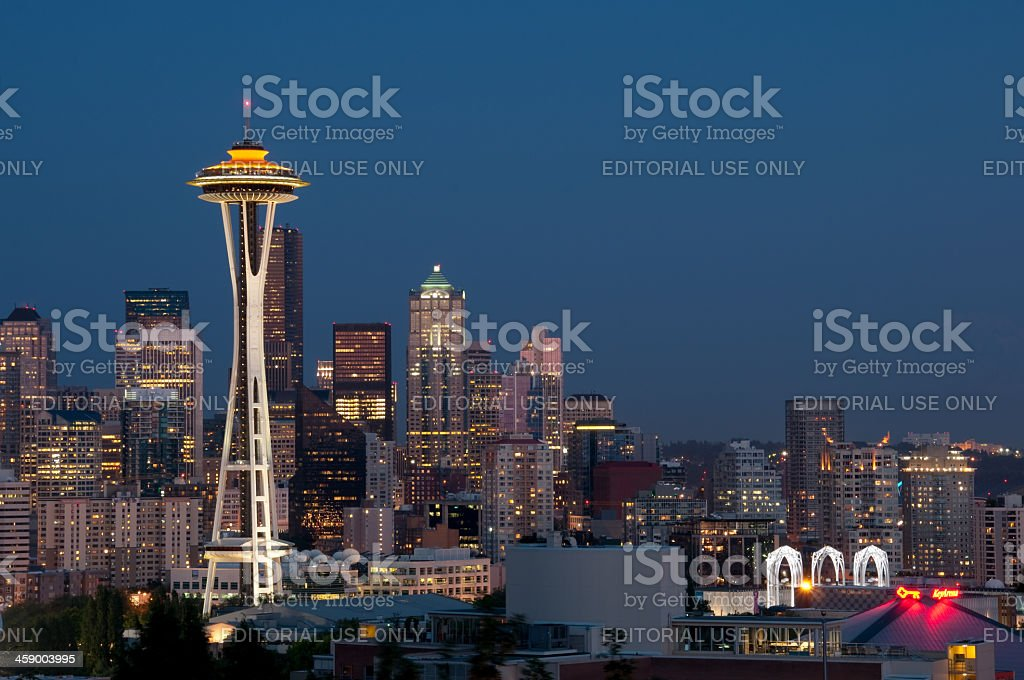 Seattle Skyline at Twilight stock photo