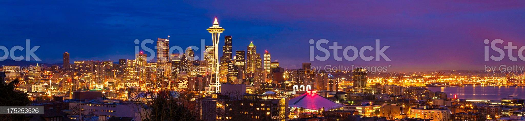 Seattle skyline cityscape night panorama at Christmas royalty-free stock photo