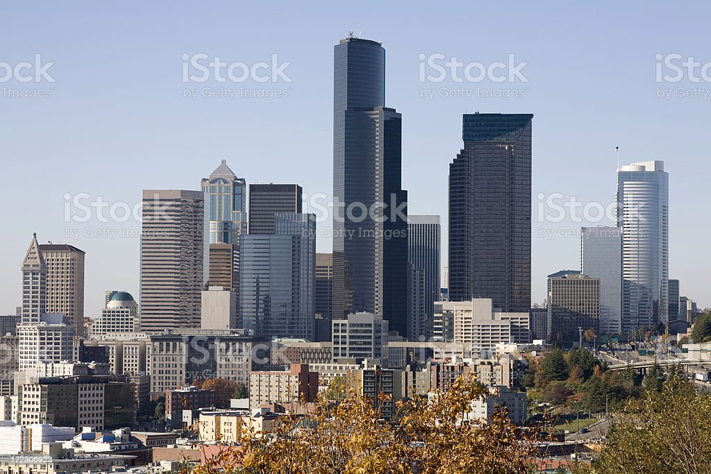 Seattle Skyline during Autumn royalty-free stock photo