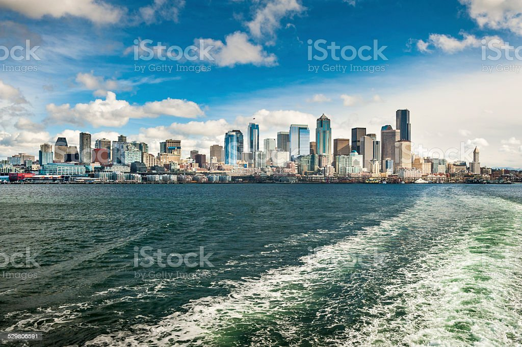 Seattle Skyline from a Ferryboat. stock photo