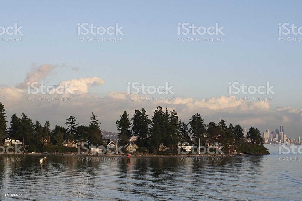 Seattle Skyline From Bainbridge Island stock photo