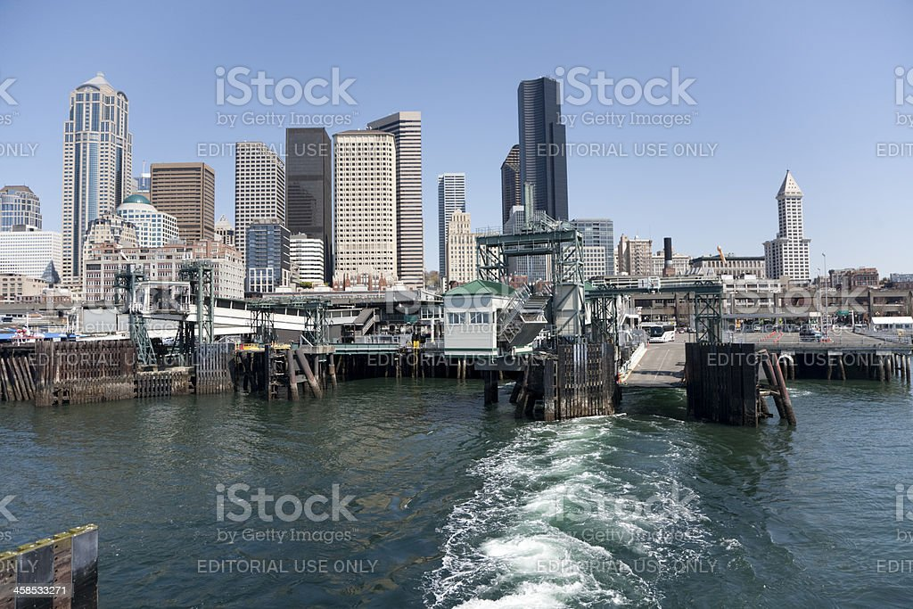 Seattle Skyline From Leaving Ferry stock photo