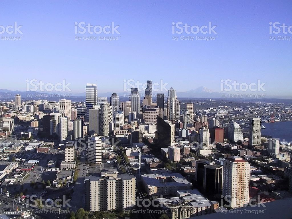 Seattle Skyline from Space Needle royalty-free stock photo