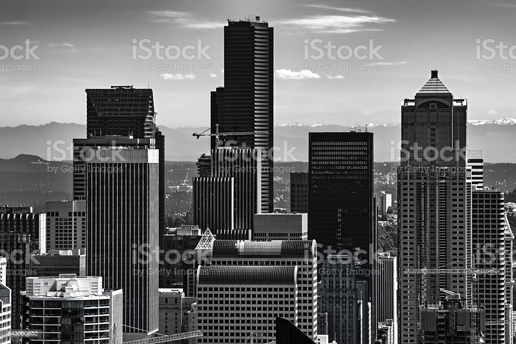 Seattle Skyline in Black and White stock photo