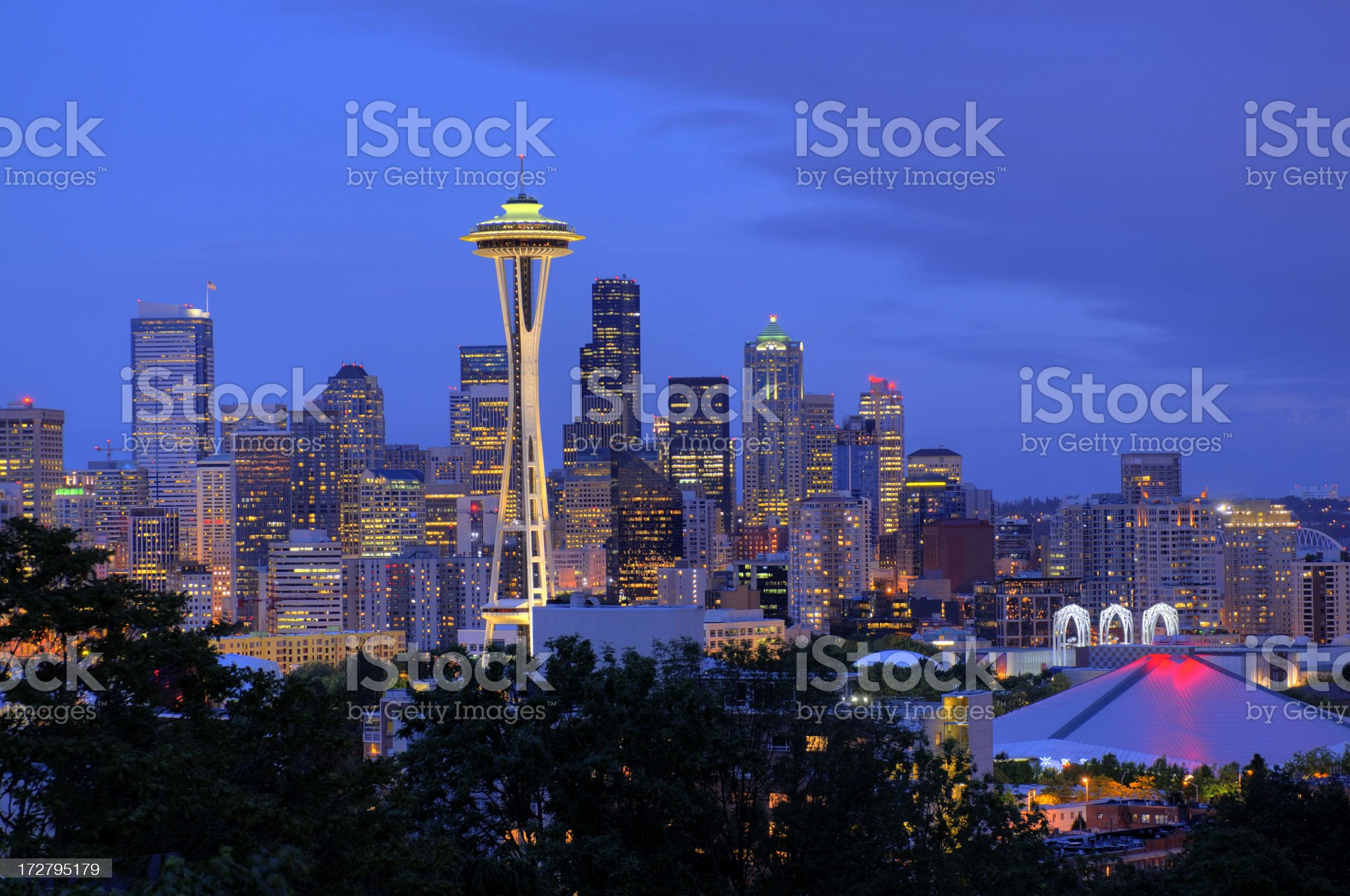 Seattle skyline in HDR royalty-free stock photo