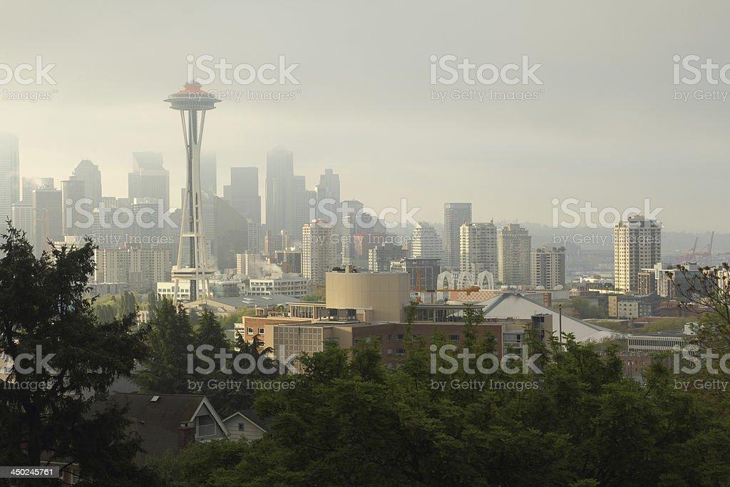 Seattle Skyline, Morning Mist royalty-free stock photo