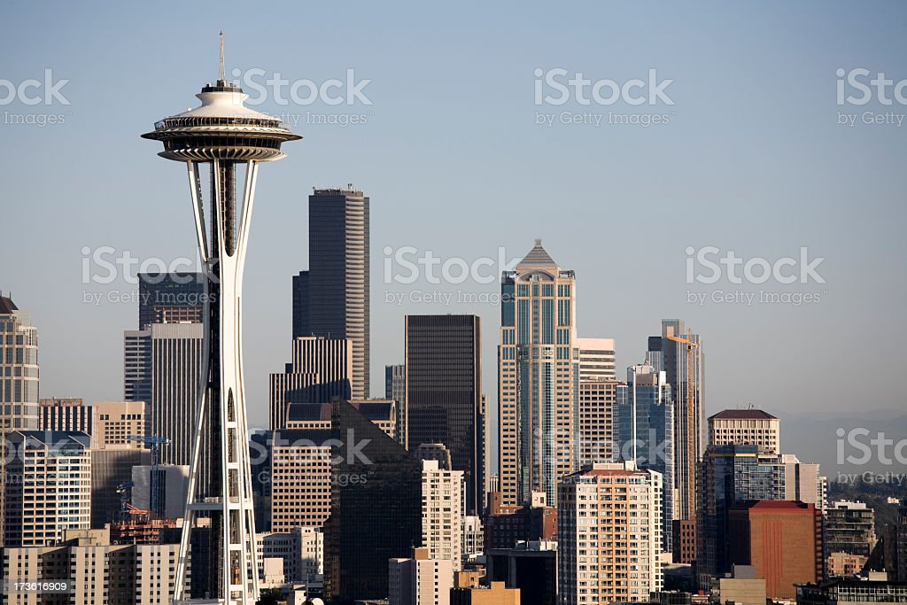 Seattle skyline on a gloomy day royalty-free stock photo
