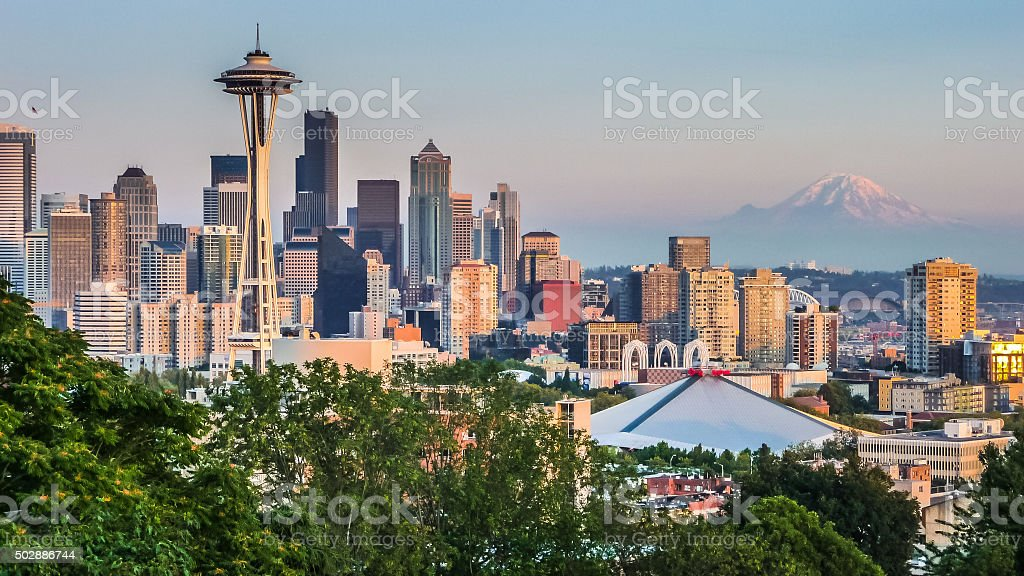 Seattle skyline panorama at sunset from Kerry Park, Seattle, USA stock photo