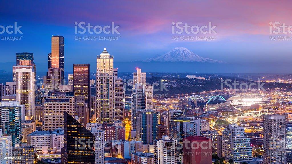 Seattle skyline panorama at sunset stock photo