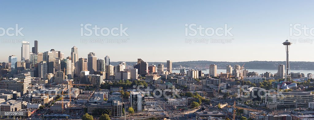 Seattle Skyline Panorama Downtown Financial District, Elliot Bay, Puget Sound stock photo