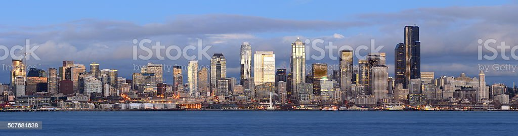 Seattle Skyline Panoramic at Night View stock photo