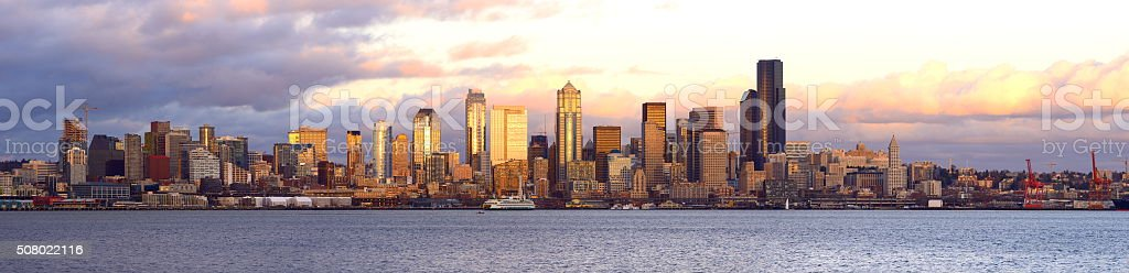 Seattle Skyline Panoramic at Sunset stock photo