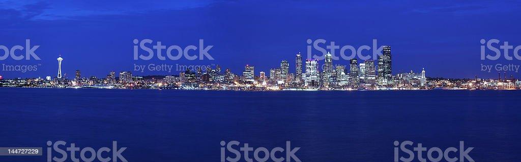 Seattle skyline panoramic royalty-free stock photo