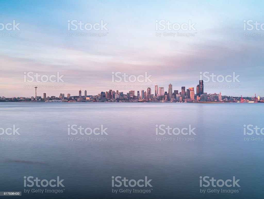 seattle skyline, puget sound, alki beach, Seattle, usa stock photo